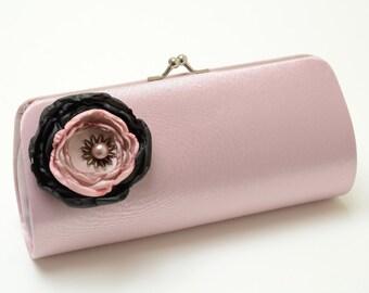 Bridal Clutch Bridesmaid Clutch - Dusty Rose Pink Clutch - Pink & Black Petite Flower Bloom