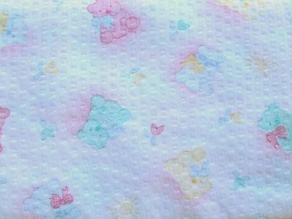 Destash Teddy Bear Fabric Puckered Seersucker style over 2 yards