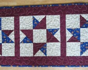 Handmade Friendship Star Table Runner, stars patriotic, americana