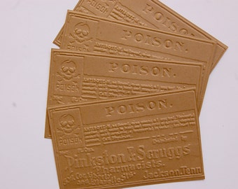 10 Pinkston & Scruggs Pharmacy Labels Embossed Kraft Papers for cardmaking, scrapbooking, journaling, paper crafts, Tim Holtz