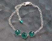 Emerald Green Bracelet, Sterling Silver Bracelet, Green Glass Stone Bracelet, Bridal Jewelry, Classic - Boho Chic, Adjustable