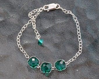 Emerald Bracelet, Sterling Silver Bracelet, Green Glass Stone Bracelet, Bridal Jewelry, Classic - Boho Chic, Adjustable