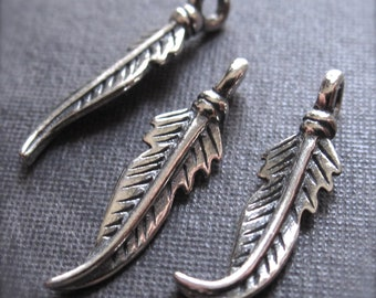 Fairy Feathers - pair of feather charms - SOLID sterling silver - 18mm X 5mm