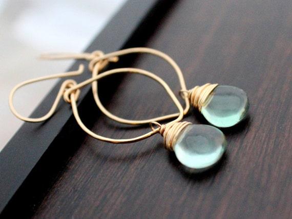 Fluorite Earrings, Gold Leaf Style Hoop Drop Earrings, Mint Seafoam Green Fashion - Seabreeze