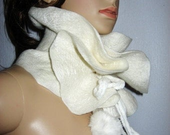 Felted  Scarf Ruffled Neck warmer  White