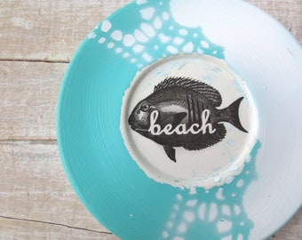 SALE - Beach House Wall Decor - Beach Sign - Cottage - Fish Decor - Hanging Plate - Vintage Coastal - SALE