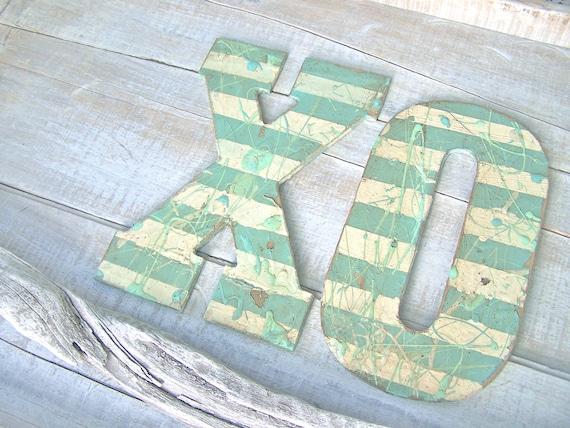 Beach Cottage Sign XOXO Aqua Shabby Wall Letter Vintage Beach HOUSE & NURSERY