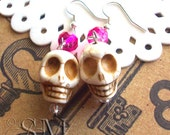 No One Lives Forever - skull earrings, antiqued white with pink crystals