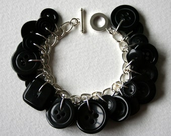 Button Bracelet Shiny Coal Black