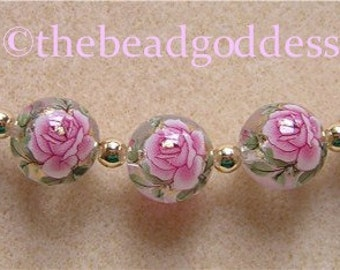 New 5 Japanese TENSHA Beads Single PINK Rose CLEAR 12mm