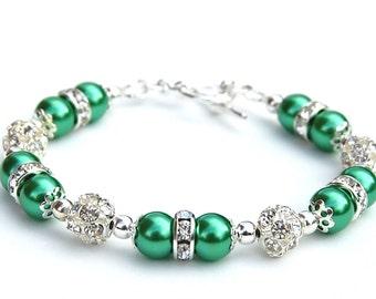 Kelly Green Pearl Bracelet, Green Wedding, Bridesmaid Jewelry, Green Bridesmaid, Spring Wedding, Bling Bracelet, Green Bracelet