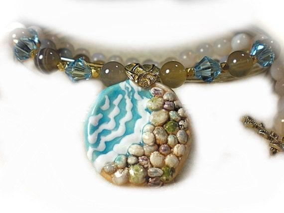 Half Off Sale Price Ocean Theme Designer Necklace Pebble Beach  Exclusive Design Genuine Gemstones