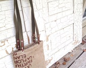 Recycled Burlap, Tote Bag with recycled webbing handles and unbleached cotton interior. Model: Beneficio