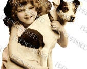 PNG or Jpeg CUTOUT Instant download Victorian Girl with Dog Jack Russell Antique French postcard  Digital Scan