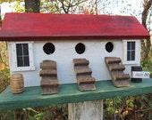 Chicken Coop Hen House Primitive Birdhouse Three Compartment