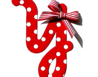 Red Polka Dot Cursive Letter...Fabric Iron On Applique...Bow Included...You Choose Your Own Letter