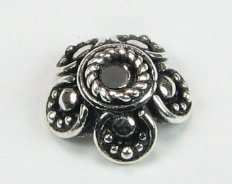 Flower Shaped Bali Sterling Silver Bead Caps with Scalloped Edge 9mm (2beads)
