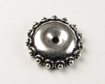 Large Fancy Dotted Wheel Bead Cap Bali Sterling Silver 15mm (2 beads)
