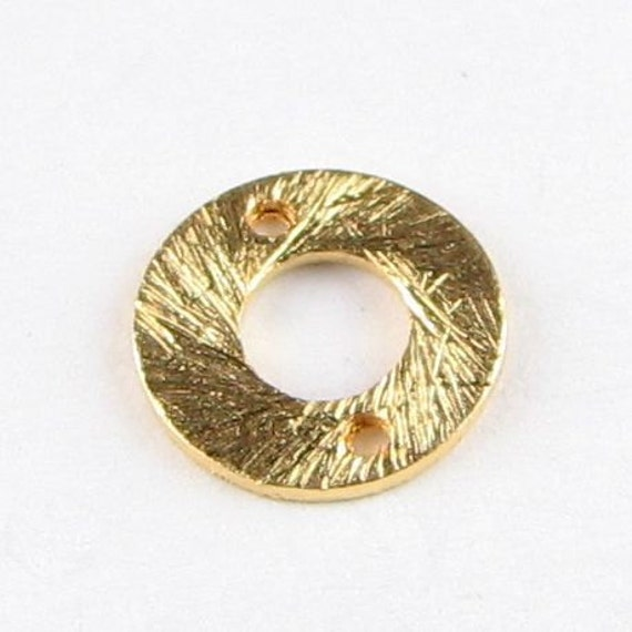 Bali Gold Vermeil Brushed Matte Round Flat Donut Disc Connector Links 10mm (2 beads)