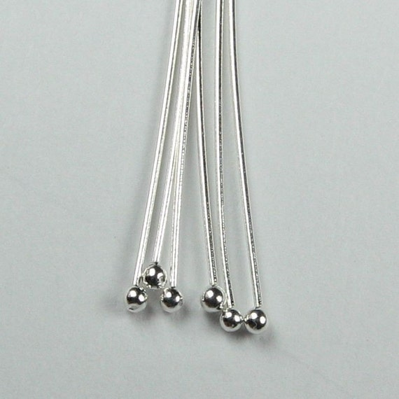 2 inch 24 gauge 925 Sterling Silver 2 inch Ball Headpins 24g (20)