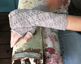 "New PDF knitting pattern ""Cloudland"" fingerless gloves"