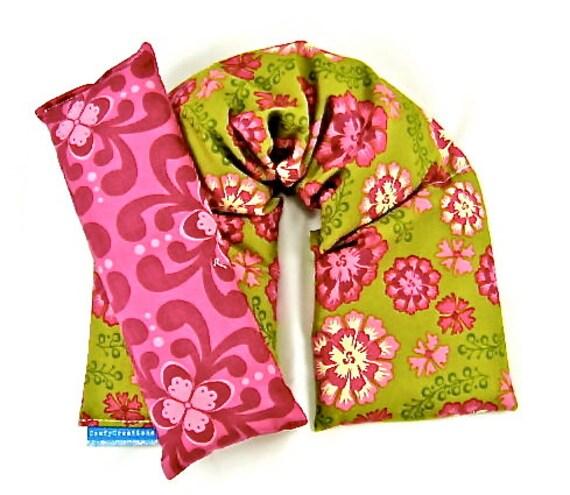Neck Shoulder Heat Wrap Eye Pillow Set Organic Flaxseed Rice Lavender Scented Flower Medallion Fall Weddings Yoga Gift Idea
