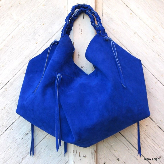 Slouchy Leather Hobo Bag in Cobalt Blue Suede by Stacy Leigh RESERVED ...