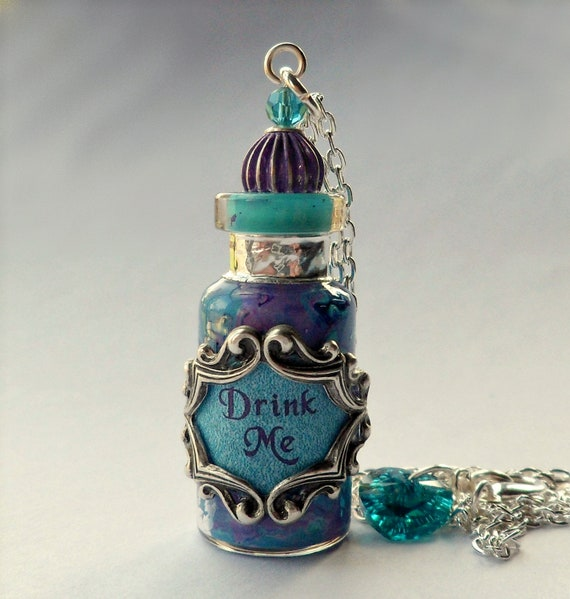 Alice in Wonderland Turquoise, Jade, Purple and Silver Drink Me Bottle Pendant