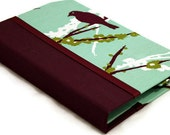 Kindle Touch Case / Kindle Case / Nook Cover - Hardcover Book Style, Joel Dewberry Aviary Sparrow in Plum,  Magnet Close Personalize