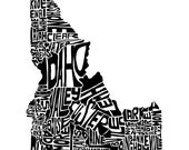 Idaho typography map art ...
