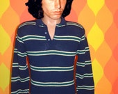 vintage 70s polo sweater golf navy soft striped knit shirt collared wintuk Small andhurst