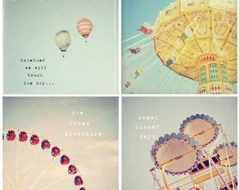 Sweet summer memories - Nursery art, whimsical set of 4 photos, hot air balloon decor, carnival art, typography, childs room decor