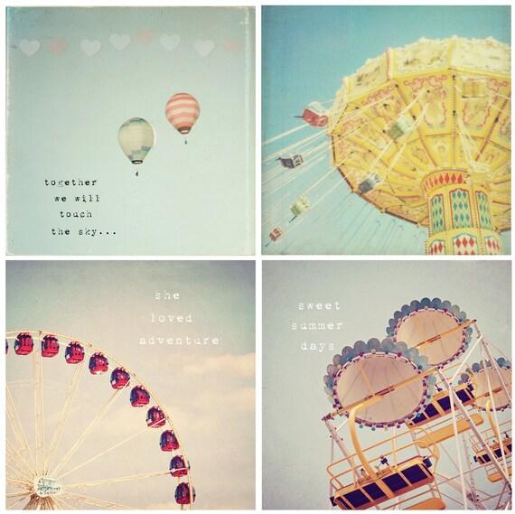 Sweet summer memories - Nursery art, whimsical set of 4 photos, hot air balloon decor, carnival art, typography, childs room decor