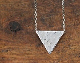 Shimmering Hammered Silver Triangle Necklace
