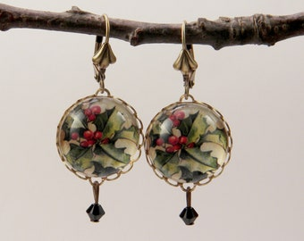 Deck The Halls 18mm Round Holly Earrings perfect Christmas Holiday accessory