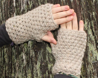 fingerless gloves hand warmers winter natural bone wool
