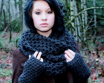 SET The Favorite Cowl Hood scarf oversized slouch Hat Fingerless Glove Charcoal Black