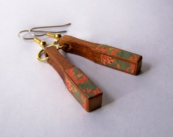 Recycled Piano Rectangular Drop Earrings Orange and Green Pattern WOODEN Jewelry