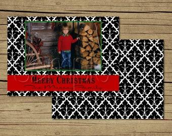 25 5x7 Black and White Damask Photo Christmas Holiday Cards