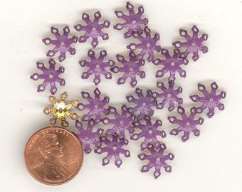 24 Vintage Purple Enamel Brass Filigree 11mm Bead Caps. BC001