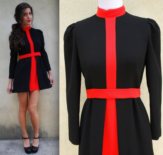 Vintage 60s 70s Black and Red Sheath Dress