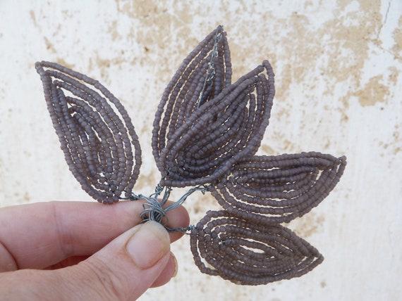 Vintage beaded french beadwork sheer purple leaves set of 5
