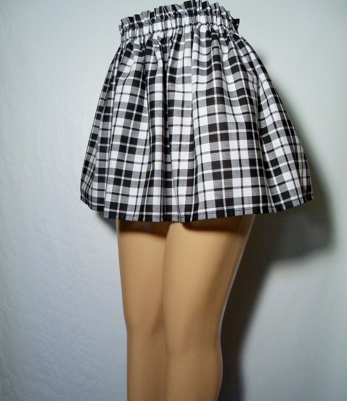 Black And White Plaid Mini Skirt 107
