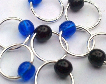 Black & blue snag-free lace stitch markers