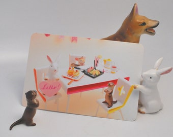 Hello Postcards--Pack of 8 featuring ceramic animal figurines and tiny Japanese foods