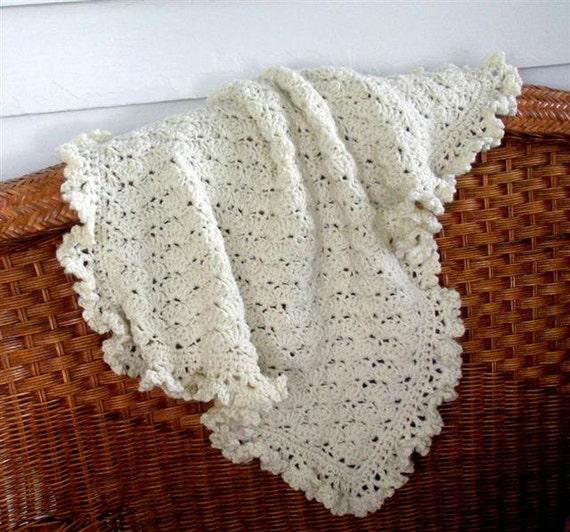 Hand Crochet baby blanket, Baby Boy Blanket, Baby Girl Blanket, mini afghan, Granny, stroller blanket, Ivory Cream