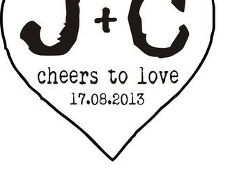Clear Block Custom Initial Heart Monogram great for weddings  --1103