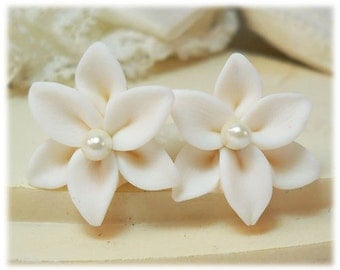 White Lily Pearl Earrings Stud or Clip On