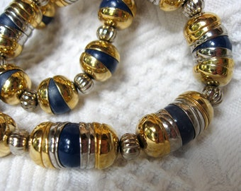 Vintage Gay Boyer Necklace Gold and Silver Metals with Cobalt Navy Blue Beads Nice Design Elements
