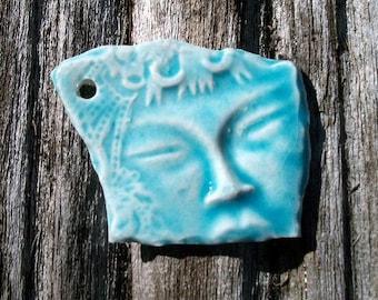 Ceramic Single Oriental Face in Light Blue